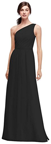 David's Bridal Side-Ruched One-Shoulder Bridesmaid Dress Style POB17003, Black, 16