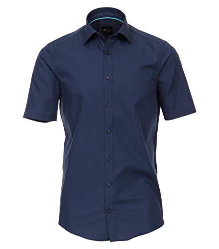 Venti Herren Businesshemd Kurzarm Uni Slim Fit Dunkelblau 38