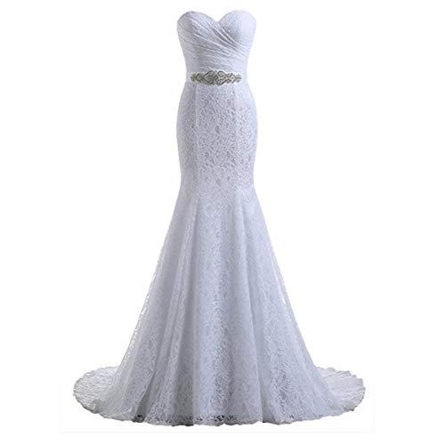 HKD Hochzeitskleid, Abendkleid, Fisch TailLace Stickerei Strass Slim-Fit-trägerlose Schulter Langer Abschnitt Wissen (Color : White, Size : L)
