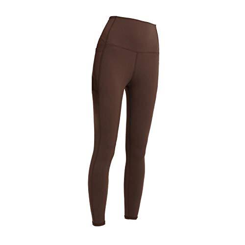 YYMY Alta Cintura EláSticos Transpirables Running,Conjuntos de Yoga Leggings sin Costuras para Mujer, Pantalones de Gimnasia de Cintura Alta y Sujetador Deportivo Dark Brown_XL