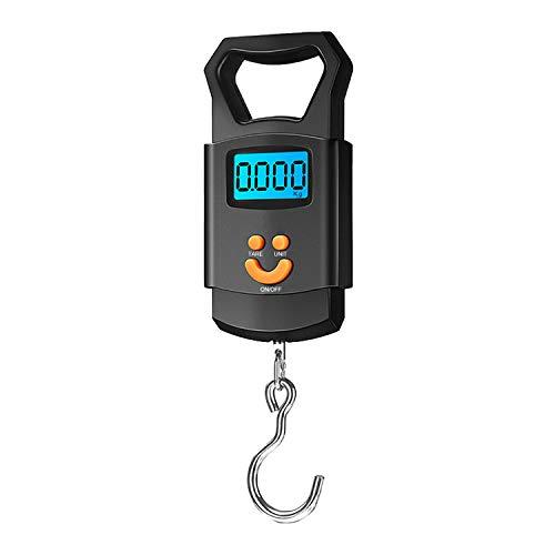 Bilancia digitale portatile per bagagli fino a 110 lb / 50 kg con gancio da pesca, display illuminato, funzione tara e spegnimento automatico, per la pesca postale (nero)