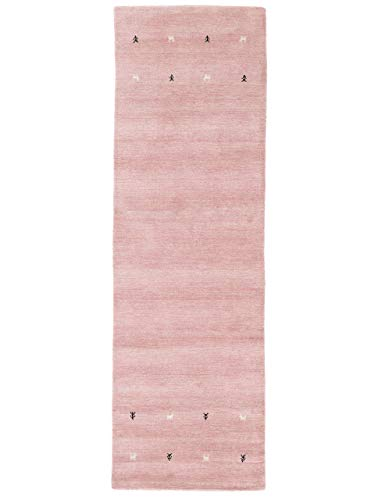 CarpetFine Tappeto di Lana Gabbeh Uni passatoia Rosa 80x400 cm | Tappeto Moderno per Soggiorno e Camera da Letto