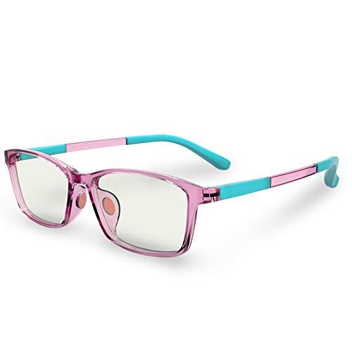 Kids Computer Blue Light Glasses: Anti Strain Protection Eye Glare Filter Rectangular Frame UV Ray Blocker Fake Reading Lens Gaming Screen Blocking Eyeglasses for Children | Girls | Boys