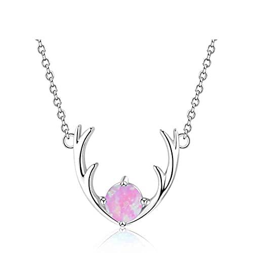 HZYXGS Collares de Plata de Ley 925 con Piedra de ópalo, Cuernos de Ciervo, Colgantes, Collares, joyería de la Suerte con Lindo Collar de Mujer