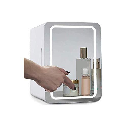 REUJKK Flawless Beauty Mini Fridge with LED Light, 8L Portable Cosmetic Skincare Refrigerator, 2 in 1 Makeup Mirror Skincare Fridge for Makeup fAnd Skin Care, Home Bar Bedroom Office