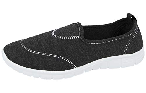Ladies Canvas Mesh Memory Foam Slip On Flat Ultra Lightweight Flexi Plimsoll Pumps Sports Comfort Trainers Go Shoes Size 3-8 (Grey, 7)