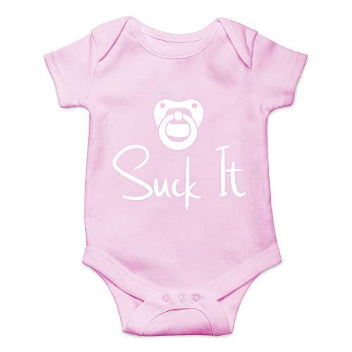 CBTwear Suck It - Funny Newborn Pacifier Punk Gift Idea - Cute Infant One-Piece Baby Bodysuit (6 Months, Pink)