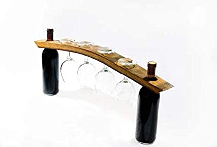 Wine Glass Rack Holder for Stemware and Any Size Bottles- Authentic Wine Barrel