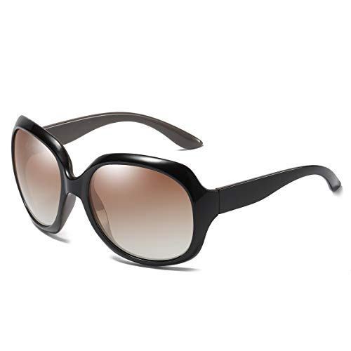 GUANGE Gafas de sol para mujer, de gran tamaño, polarizadas, protección UV400, gafas de sol para mujer, de gran tamaño, de moda, para conducir, regalos para damas, café