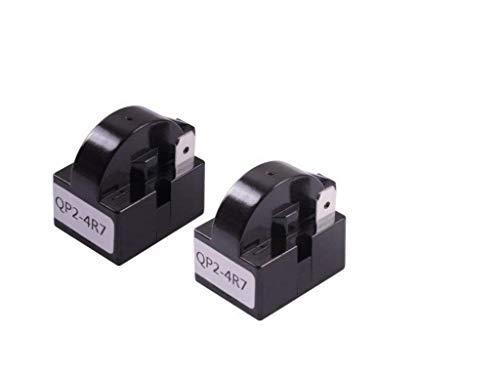 MJIYA 2 PCS QP2-4R7 4.7 Ohm 1 Pin Refrigerator PTC Starter Relay for Mini Fridge Wine Cooler Compressor (Black )