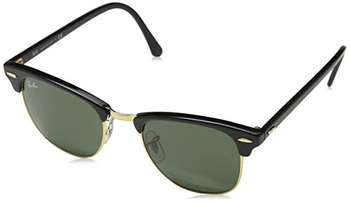 Ray-Ban RB3016 Clubmaster, Gafas de Sol, multicolor (Ebony-Arista/Crystal Green (W0365)), talla 51