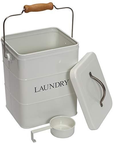 Morezi Lata de almacenamiento para polvo de lavandería con tapa y cuchara incluida, acero al carbono blanco, tapas herméticas, latas de almacenamiento