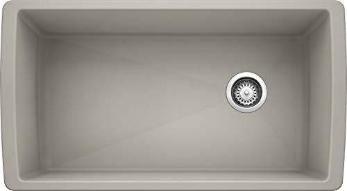 BLANCO, Concrete Gray 442752 DIAMOND SILGRANIT Super Single Undermount Kitchen Sink, 33.5' X 18.5'