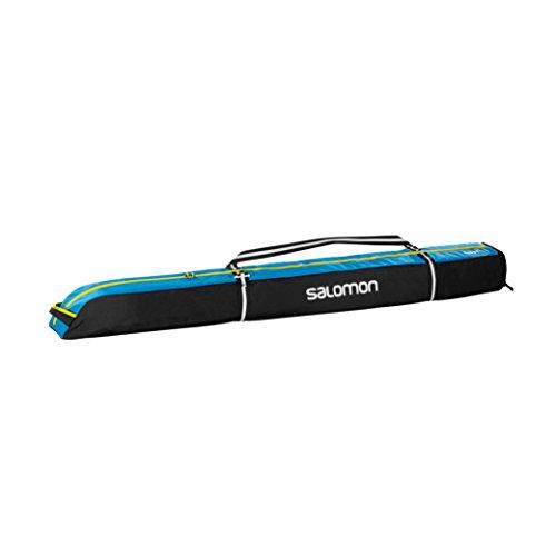 Salomon, Erweiterbarer Skisack für 1 Paar Ski (165-185 cm), EXTEND 1P 165+20 SKIBAG, Schwarz/Blau (Black/Process Blue/Corona), L38259300