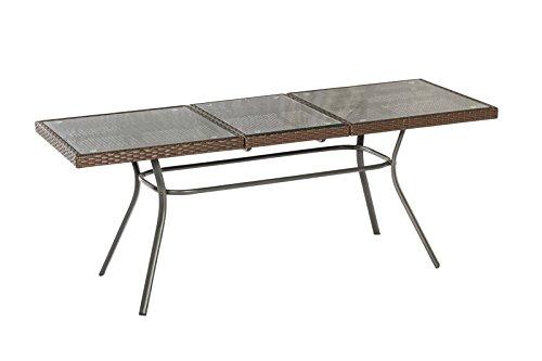 Ausziehtisch Pavia 150/200x80cm, Metall + Geflecht braun, Tischplatte Glas