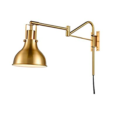 Swing Arm Wall Lamp Plug in Wall Sconce Industrial Bedside Reading Lighting with On/Off Switch Antique Brass
