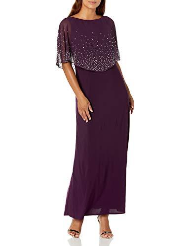 Alex Evenings Women's Plus Size Long Embellished Popover Dress, eggplant, 20W