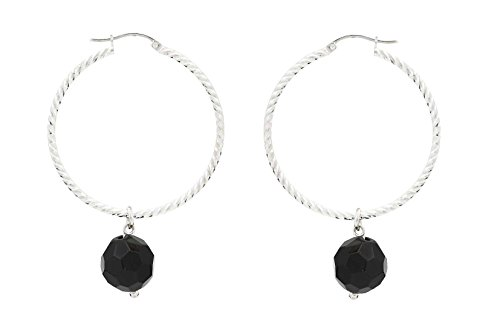 Alexandra plata - Pendientes aro de plata de ley 0925 diamantada con ónix facetados, diámetro 4 cms, color negro