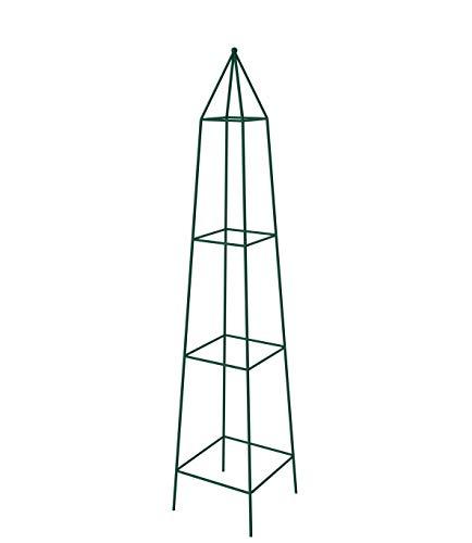 KADAX Rankhilfe, Rankobelisk aus Stahl, freistehend, Obelisk, Rankturm für Garten, Kletterpflanzen, Rosen, Pyramide, Ranksäule, Rankgestell, wetterfest, Deko, grün (25 x 120 cm)
