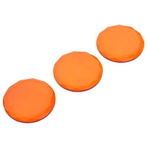Fenteer 3pcs Rectangle Cristal Plateau de Cils Rond Support pour Extension de Cils Mélange de Pigments - Orange