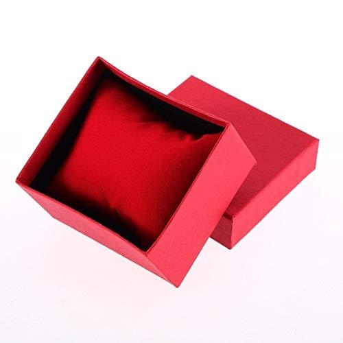 Mdsfe Caja de Reloj de Pulsera de Lujo Organizador de Almacenamiento de exhibición de Caja de Regalo para Pulsera Pendientes de joyería - Rojo, a1