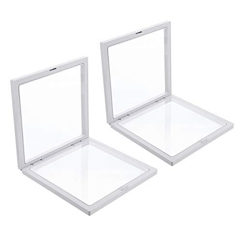 BESPORTBLE 2 Stück Transparente 3D Schwimmende Rahmen Displayhalter Desktop Display Box für Münzen Medaillons Antiken Schmuck