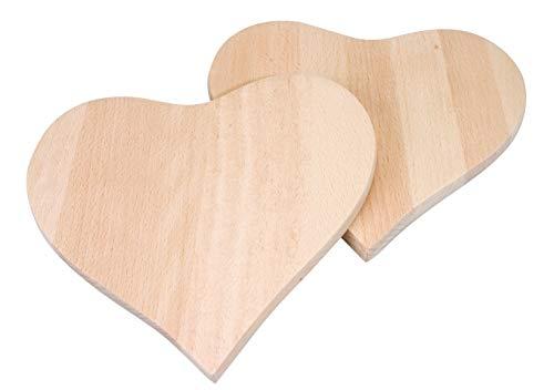 Pebaro FRUE2 Unbeschriebene Frühstücksbrettchen in Herzform 19 x 18 x 1 cm, 2 Stück, aus Holz, zum Verzieren mit dem Brandmaler oder Anmalen, 20 x 20 x 2,7 cm