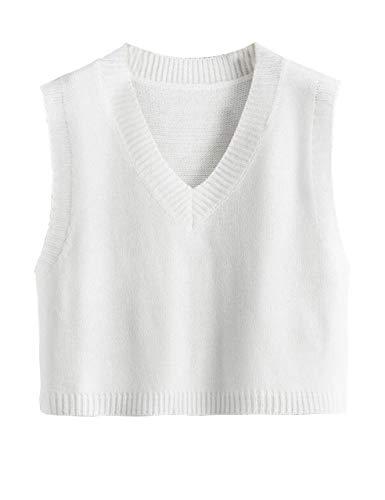MISSACTIVER Women Knitted Cotton Crop Sweater Vest V-Neck Sleeveless Solid Pullover Tank Top School Cardigan(Medium,White)