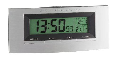 TFA Dostmann 98.1030 Digitaler Funk-Wecker, mit Temperatur, Hintergrundbeleuchtung, 19,3 x 4,2 x 26,7, silber/schwarz, Kunststoff