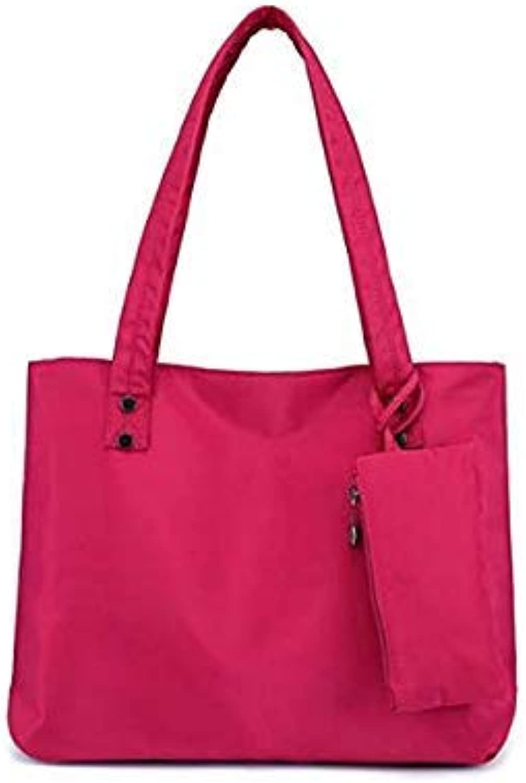 Bloomerang New Fashion Women Large Capacity Handbags Vintage Soft Waterproof Nylon Ladies Shoulder Bags Big Shopping Tote Travel Bag color pink Red