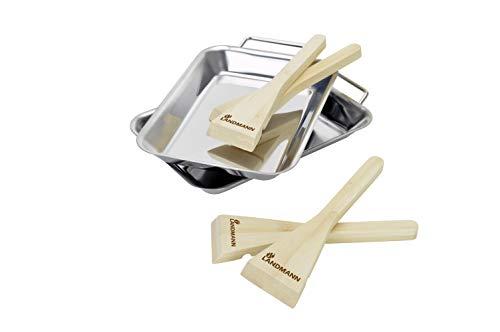 Landmann Original Zubehör Grillpfännchen-Set, 2 Edelstahl-Pfännchen und 4 Bambus Schaber als Griff oder zum Entleeren
