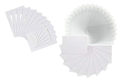Passepartouts für Fotos, 25,4 x 20,3 cm, mit Rückseiten und transparenten wiederverschließbaren Beuteln, 25,4 x 20,3 cm, für 20,3 x 15,2 cm, Weiß, 20 Stück