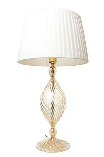Olivia - Lámpara de mesa de cristal soplado ámbar con pantalla de color marfil hecha a mano para salón y dormitorio.