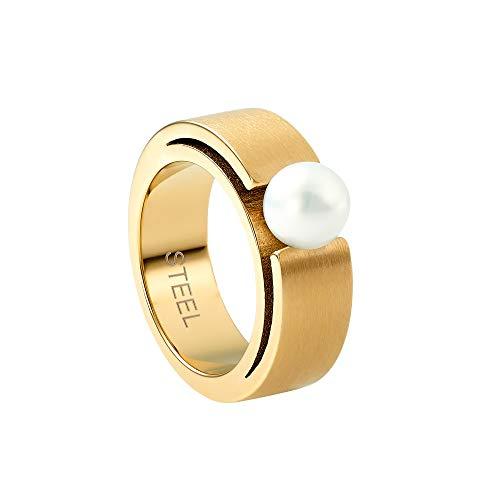 Heideman Ring Damen Perlenring Spannring aus Edelstahl Gold farbend matt Damenring für Frauen mit Swarovski Perle