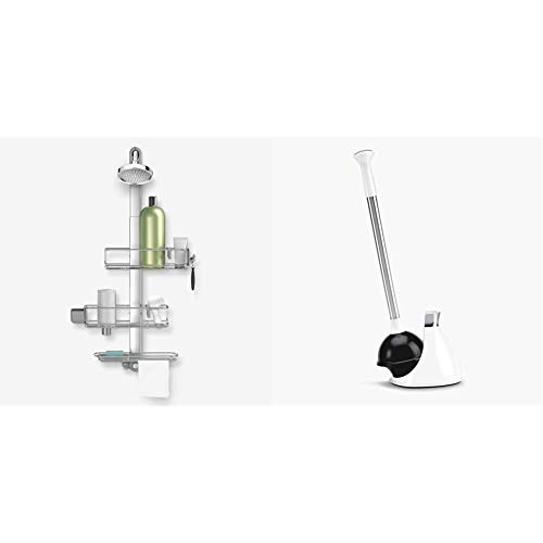 simplehuman Adjustable and Extendable Shower Caddy Plus, Stainless Steel and Anodized Aluminum & Toilet Plunger and Caddy, Stainless Steel, White