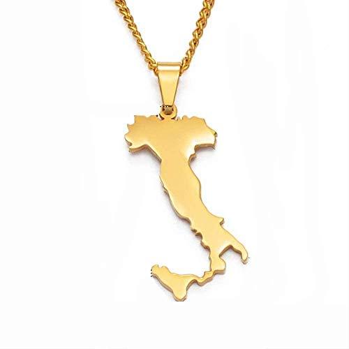 Zaaqio Collar Italia Mapa Colgantes Collares Color Oro Acero Inoxidable Mapas Italianos Joyería Regalos