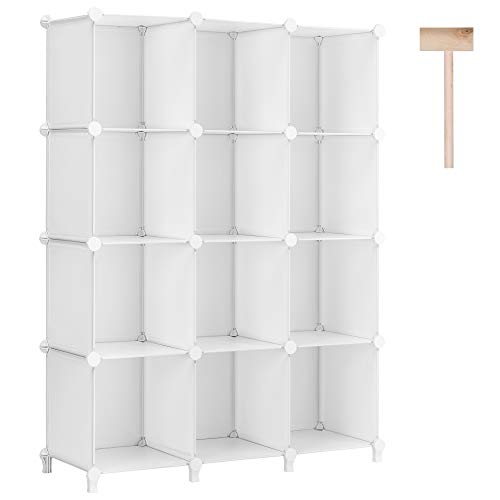 Puroma Cube Storage Organizer 12Cube Closet Storage Shelves with Wooden Hammer DIY Closet Cabinet Bookshelf Plastic Square Organizer Shelving for Home Office Bedroom  White