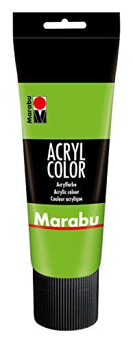 Marabu 12010025282 - Acryl Color blattgrün 225 ml, cremige Acrylfarbe auf Wasserbasis, schnell trocknend, lichtecht, wasserfest, zum Auftragen mit Pinsel und Schwamm auf Leinwand, Papier und Holz