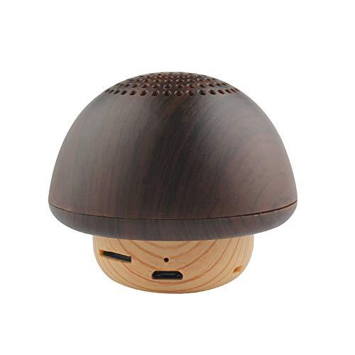 Tany Hölzerner Mini Kleiner Pilz Tragbarer Bluetooth Sprecher 4.2 Lautsprecher Unterstützung Bluetooth und Karte, Sprachansagen und Anruffunktion Taste Bluetooth-Lautsprecher
