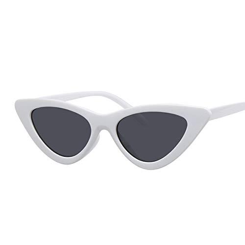 WANGZX Gafas De Sol De Ojo De Gato para Mujer Gafas De Sol Retro Gafas De Sol De Ojo De Gato Pequeñas Retro para Mujer Blancogris