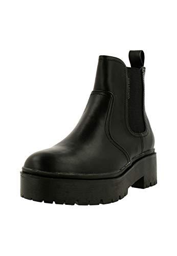 BULLBOXER Damen Stiefeletten, Frauen Chelsea Boots,Stiefel,Halbstiefel,Bootie,Schlupfstiefel,hoch, Stiefel halbstiefel Bootie,Schwarz,38 EU / 5 UK