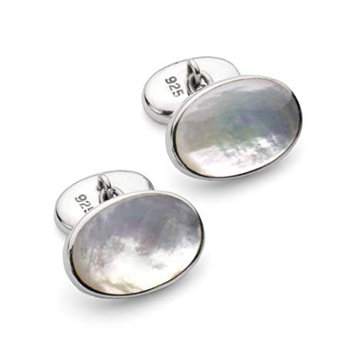 Manschettenknöpfe aus 925er Sterlingsilber, Perlmutt, Stein, klassische Kettenglieder, ovale Form