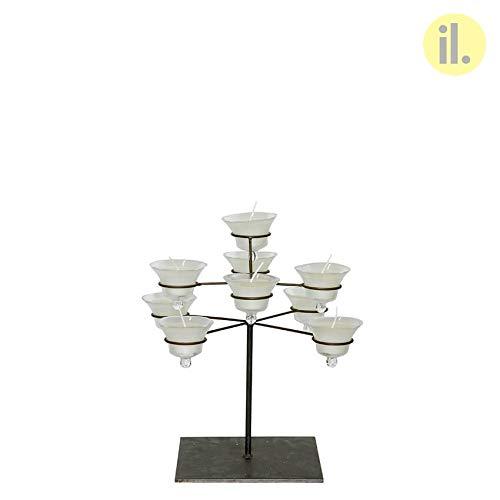 il-lumina Kerzenleuchter aus Eisen, mittlere Höhe 43 cm, mit Gläsern aus Glas mit Kerzen, Referenznummer: 024-197