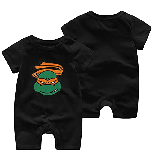 Teenage-Mutant Ninja-Turtles recién nacidos Niñas Niños Niños Bebé Mameluco Manga Corta Bebé Niño Niño Mono, Negro, 2 Año