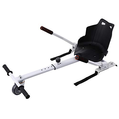 Z ZELUS Silla de Hoverboard Ajustable Asiento para Patinetes Eléctricos de 6.5 8 10 Pulgadas HoverKart Silla de Equilibrio Automático para Adultos y Niños (Blanco)