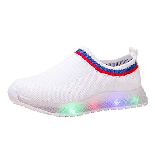Shenye Light Up Flashing Sneaker Mesh atmungsaktiv Led leuchtende Laufschuhe Beleuchtung Schuhe Socken Schuhe Turnschuhe Licht LED Sneaker Leuchtschuhe Blinkende Kinderschuhe (23 EU, Weiß)