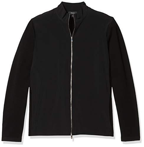 Theory Men's Belvill Cotton Blend Full Zip Cardigan Sweater, Black Multi, M