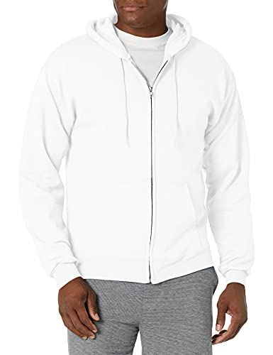 Hanes Men's Full-Zip Eco-Smart Hoodie, white, Large