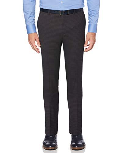 Perry Ellis Pantalones de vestir para hombre, ajustados, elásticos, pequeños, a cuadros - negro - 34W x 29L