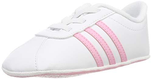 adidas Jungen Unisex Baby VL Court 2.0 Crib Hausschuhe, Mehrfarbig (Ftwbla/Rosaut/Grasua 000), 17 EU